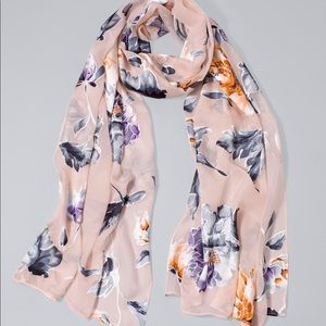 WHBM floral burnout oblong scarf